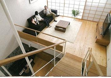 1階と2階をつなぐ大きな吹き抜け空間:プレウォール