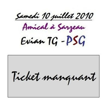 Ticket  Evian-PSG  2010-11