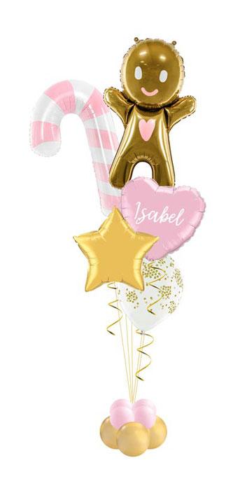 Ballon Luftballon Heliumballon Deko Dekoration Überraschung Mitbringsel Ballonpost Ballongruß Versand verschicken Helium Mädchen Lebkuchenmann mit Namen personalisiert Personalisierung Geschenk Idee Ballonpost Weihnachten Zuckerstange Herz süß Konfetti