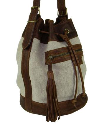 Sac seau, sac bourse en lin et cuir naturel fabriqué par un artisan du cuir