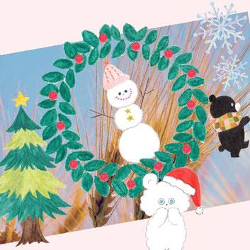 フリー写真にクリスマスにちなんだ写真加工をしてみました。