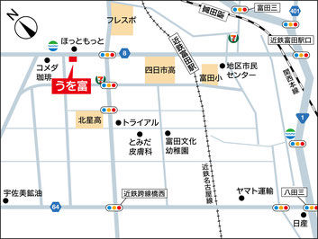 四日市市富田 うを富の地図