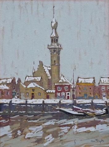 A.J.(Alfons) van Dijck. Gouache op schilderskarton, 'onder den stadhuistoren te Veere in den winter'. Te dateren 1931. Afm. 20,5 x 15,5cm.