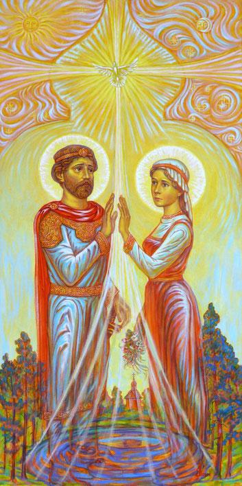 Святые Пётр и Феврония Муромские, «Встреча», размер полотна 100 х 50 см. холст, акрил