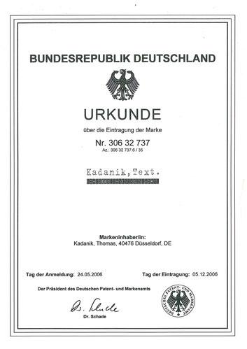 Urkunde des Patentamts in München für den Werbetexter aus Düsseldorf