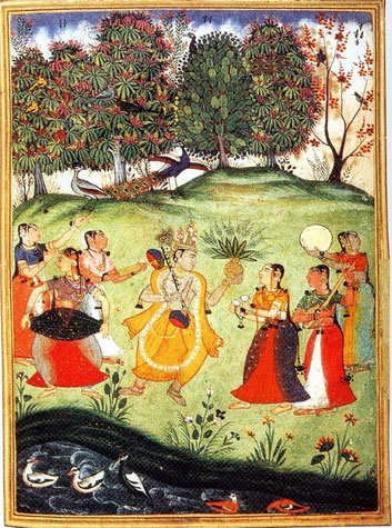 Basant Raag represented as Lord Krishna with the friends of Radha. Image resource - pizea.com