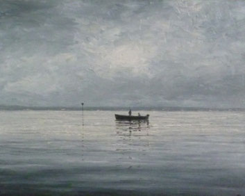 Grauer Tag am Obersee (Öl auf Leinwand, 30 x 37 cm, verkauft)