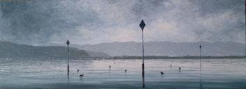 Blick auf Bregenz (Öl auf Leinwand, 28 x 76,5 cm)