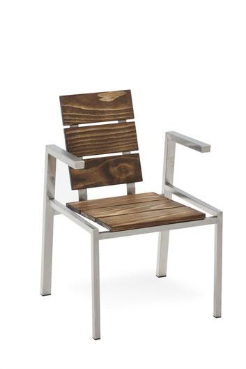 Edelstahlstühle mit Holz oder Kunstharzplatten.....