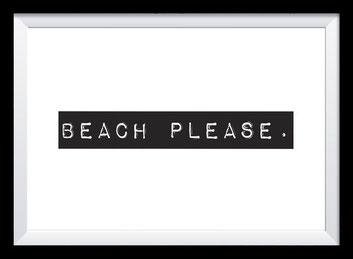 Typografie Poster Reisen, beach please