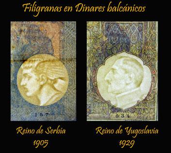 Serbia 100 dinares 1905 vs. Yugoslavia 100 dinares 1929 filigranas