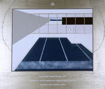 POOL LANDSCAPE 2   530mm*455mm   F10   2021 acrylic on canvas, wood