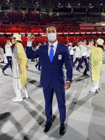 Aker al Obaidi bei der Eröffnungsfeier der 32. Olympischen Spiele  in Tokyo