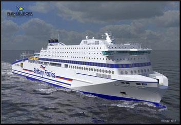 An artist impression of Honfleur, Brittany Ferries' future flag ship.
