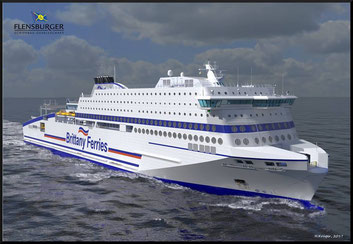 An artist impression of Honfleur, Brittany Ferries' future flag ship.