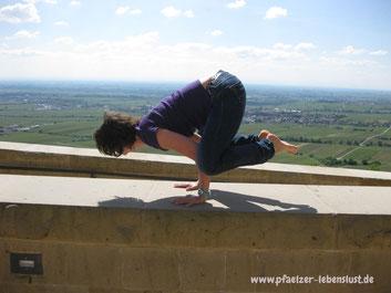 Yoga Hambacher Schloss Asana Krähe Yogalehrer Lebensfreude Wellness Pfalz