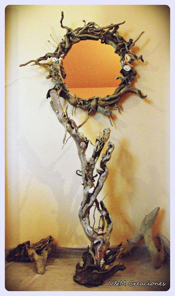 madera de mar, escultura madera, driftwood art, driftwood, espejo madera de mar, madera deriva, vymcreaciones.com, vymcreaciones.com