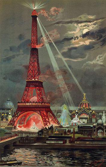Postkartenmotiv des illuminierten Eiffelturms Quelle: Wikipedia