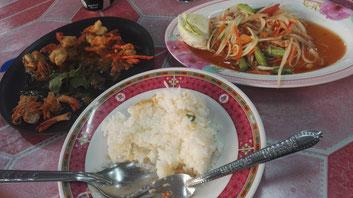 Reis, Papaya Salat und Garnelen