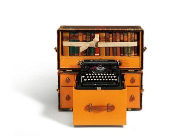 malle bibliothèque machine à écrire