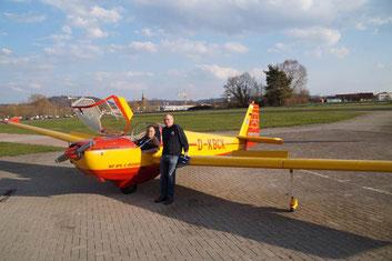 Robert Günter und Harald Ullmann nach einem erfolgreichen Werkstattflug (v.l.n.r), Foto: Benedikt Schnuchel