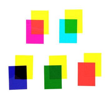 Superpositions de filtres colorés avec un filtre jaune