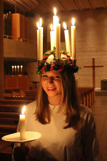 Elisabeth Schwake als Lucia in S:ta Eugenia in Stockholm