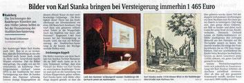 Karl Stanka - Werke werden versteigert. Sächsische Zeitung vom 2.1.2009