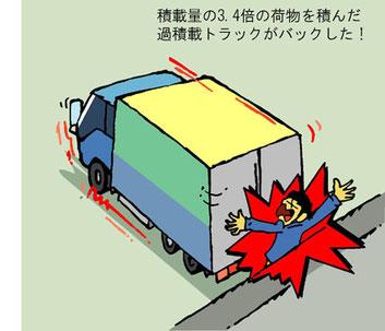 過積載車両が後退して死亡事故