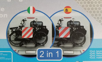 Umverpackung der Warntafel für Italien und Spanien