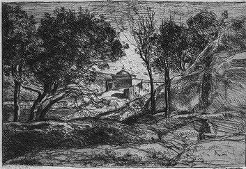 Corot, Souvenir de Toscane, 4ème état, publié dans la Gazette des Beaux Arts d'avril 1875.