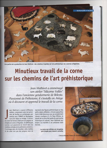 Article de l'Ariégeois Magazine -N° 214- présentant le travail de Jean Mathivet - Animaux aux formes préhistoriques en corne -