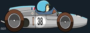 Bernard Collomb by Muneta & Cerracín - Bernard en el XXIIIº Grosser Preis von Deutschland el 6 de agosto de 1961 en Nürburgring.