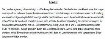 Artikel IV Haushaltsgesetz