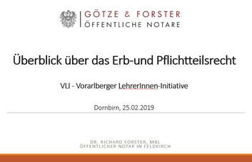 """PPP- Unterlagen zum Vortrag von Dr. Richard Forster: """"Überblick über das Erb- und Pflichtteilsrecht"""""""