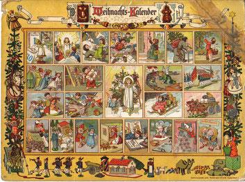 Richard Ernst Kepler: Im Lande des Christkinds, Adventkalender mit Versen von Gerhard Lang, beklebt 1903