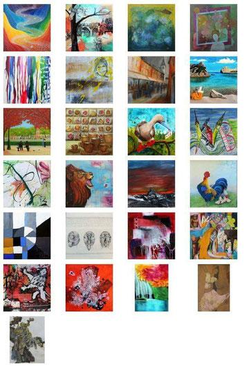 Die 26 Bilder, die ausgestellt werden, sind aufgeführt.