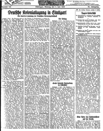 Bild: Tübinger Chronik, 04.06.1928, Nr. 128, Universitätsarchiv Tübingen.