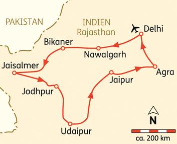 "Unser Klassiker - Nordindien Rundreise ""Höhepunkte Rajasthan"" ab 1.829 € incl. Flug, 14 Tage = 12 Nächte Indien max 12 Gäste"