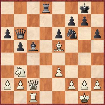 Mauelshagen - Hein: Jürgen verrechnet sich hier und zieht 22. ... Lxe3? was in den Konter 23.Lxf6! rennt wonach Weiß eine Gewinnstellung erhält