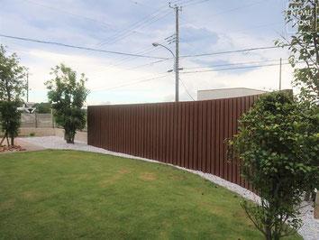 アルミ柱フェンス、ウッドフェンス、イタウバ、施工例