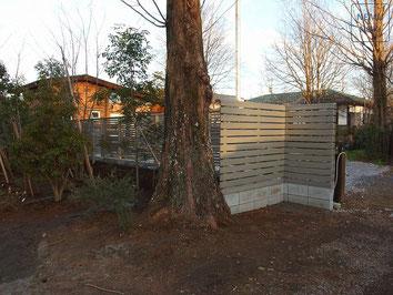 ウッドフェンス、イタウバ、オスモカラー、施工例