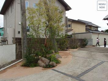 雑草対策、固まる土、ガーデン、植栽、施工例