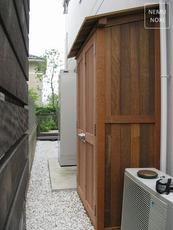 木製物置、イタウバ、レッドウッド、施工例