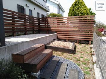 フェンス、目隠しフェンス、イタウバ、施工例