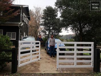 フェンス、木製門扉、イタウバ、二液ウレタン塗装、施工例