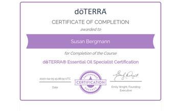 Susan Bergmann, doTERRA, Certificate, doTERRA Hamburg