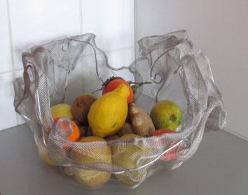 corbeille en voile d'inox alimentaire et fil inox/alu pour nourriture ou décoration