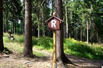 """Ein """"R"""" markiert den Wanderweg"""