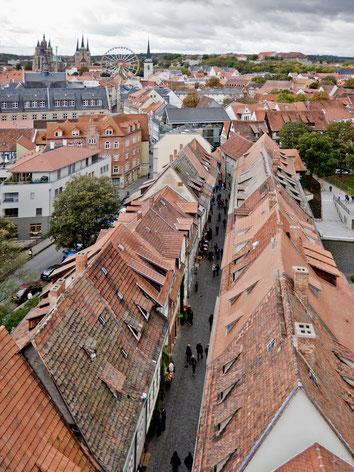 Blick über die Dächer der Krämerbrückenbebauung Richtung Altstadt